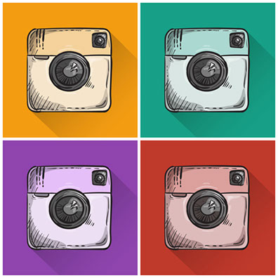 Instagrams famous logo in college, in various colors