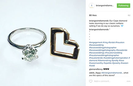 Brain Gavin Diamonds ring Instagram Post
