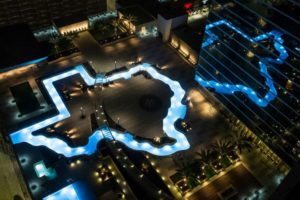 Photo of the Texas-shaped swimming pool in downtown Houston, TX