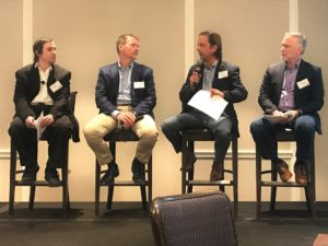 Panelists Jesson Bradshaw, Brian Armentrout and Karl Trollinger at Tilting The Grid energy conference